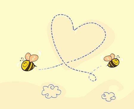 wesp: Bee's hart. Bijen maken grote liefde hart in de lucht. Art vector cartoon Illustratie.