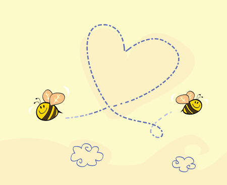 funny love: Bees heart. Bees making big love heart in the air. Art vector cartoon Illustration.