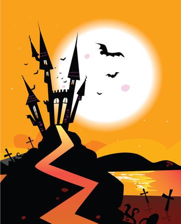 dracula castle: Haunted Castle. Bats over spooky Castle. Vector Illustration.