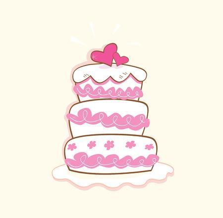 luna de miel: Pastel de bodas. Rosa pastel dulce decorativos. Puede ser utilizado en bodas, cumplea�os, fiesta de San Valent�n o de ocasi�n. Arte ilustraci�n vectorial.