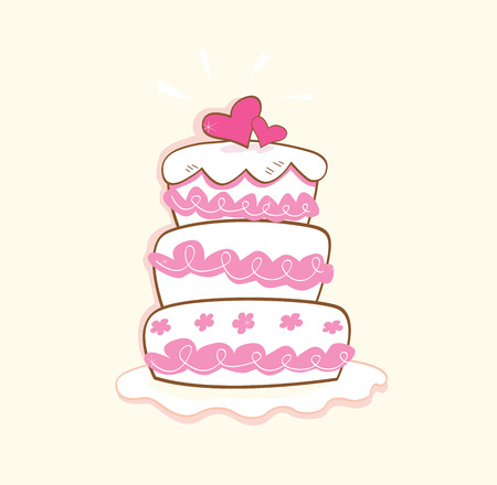 Wedding cake. Pink decorative sweet cake. May be used on wedding, birthday, party or valentines occasion. Art vector illustration.