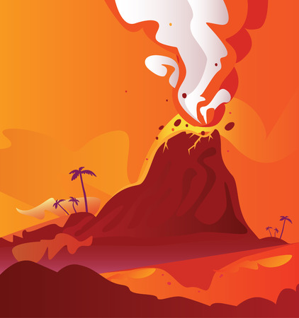 Volcano with burning lava. Vector Illustration of volcano eruption.