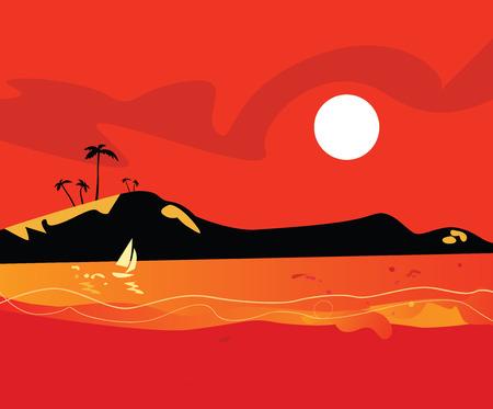 Beach sunset. Vector Illustration of sunset on tropical island beach. Stock Vector - 4903092