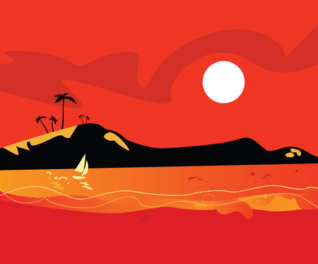 Beach sunset. Vector Illustration of sunset on tropical island beach. Stock Vector - 4903092