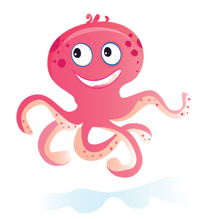 Sea octopus. Pink Octopus. Vector Illustration of funny sea animal. See similar pictures in my portfolio!  Illustration