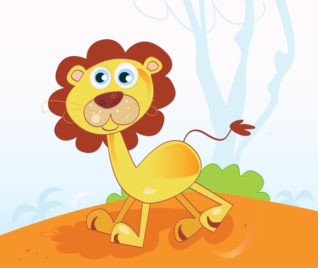 Jungle african lion. Safari animal in african jungle. Vector Illustration. Stock Vector - 4917952