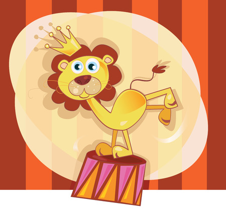 Circus lion. Trained lion acts in circus show. Vector Illustration. Vector