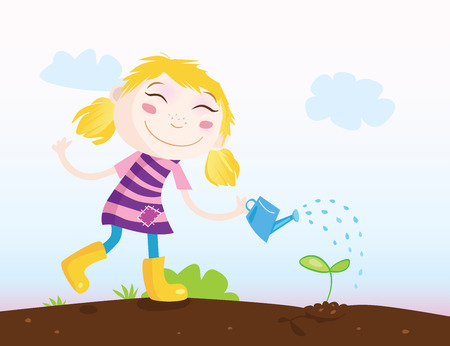 seedling growing: Small girl in Garden. Girl is watering plant. Vector Illustration.
