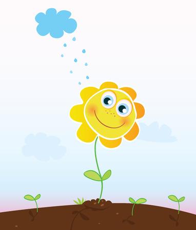 patio escuela: Feliz flor. Sonriente en el jard�n de flores. Ilustraciones Vectoriales. Vectores