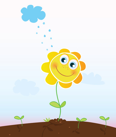 Happy flower. Smiling flower in garden. Vector Illustration. Vector
