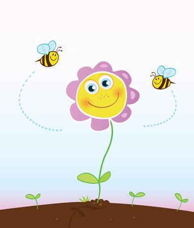 bee garden: Bees and flower. Happy garden flower with bees around.