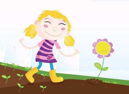 Girl in garden. Small girl in garden with flower. Vector Illustration. Stock Vector - 4917951