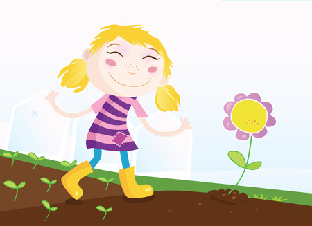 Girl in garden. Small girl in garden with flower. Vector Illustration. Stock Vector - 4917951