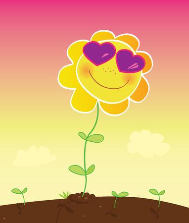 Summer love. Sunflower with pink sunglasses. Vector cartoon Illustration. Vector