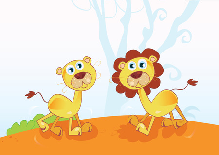 Funny African Lions. Safari animals in nature. Vector Illustration. Vector