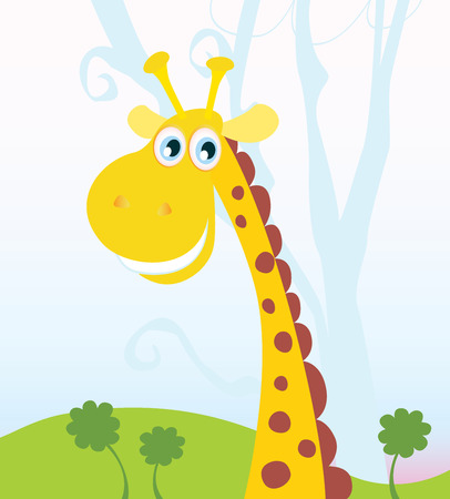African Giraffe. Vector Illustration of funny animal. See similar pictures in my portfolio!
