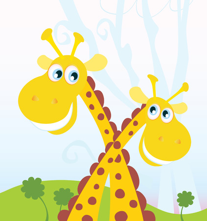 Two giraffes. Vector Illustration of funny african animals. See similar pictures in my portfolio! Vector