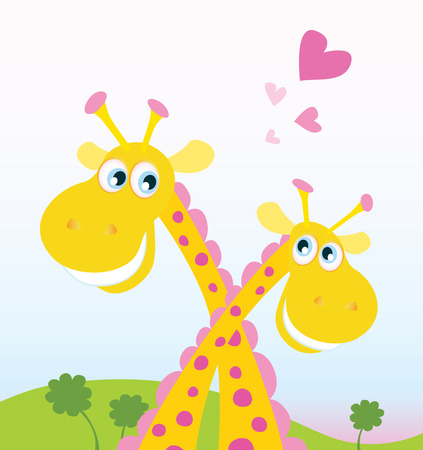 Safari love. Two funny giraffes in love. Vector Illustration. See similar pictures in my portfolio! Vector