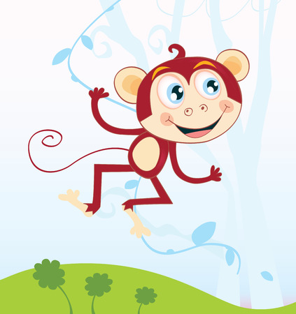 Jungle monkey. Funny animal jumping in jungle. Vector Illustration. See similar pictures in my portfolio! Vector