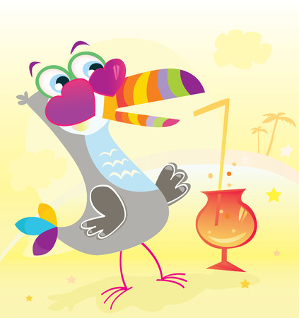 Beach party. Fun begin. Exotic bird character on beach party! Vector Illustration.  Vector