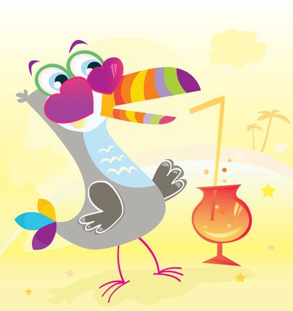 incominciare: Beach Party. Fun iniziare. Uccelli esotici carattere parte sulla spiaggia! Illustrazione Vettoriale.