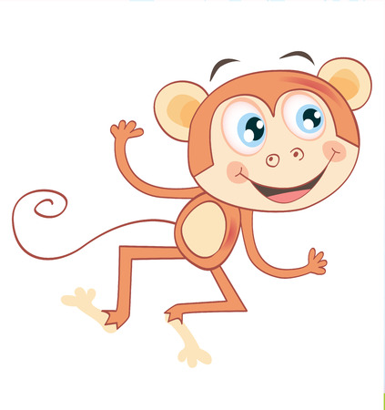 Monkey isolated on white background. Funny jumping animal. Vector Illustration. See similar pictures in my portfolio! Vector