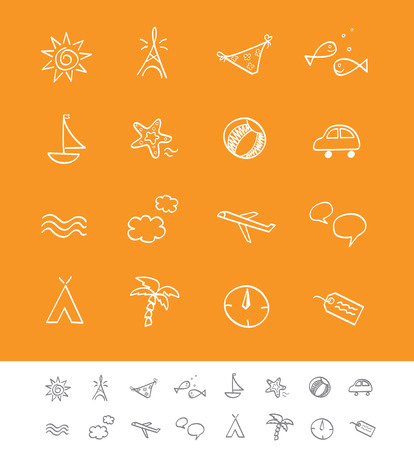 Summer and travel iconset. Vector icon pack for webpages and magazines. Vector