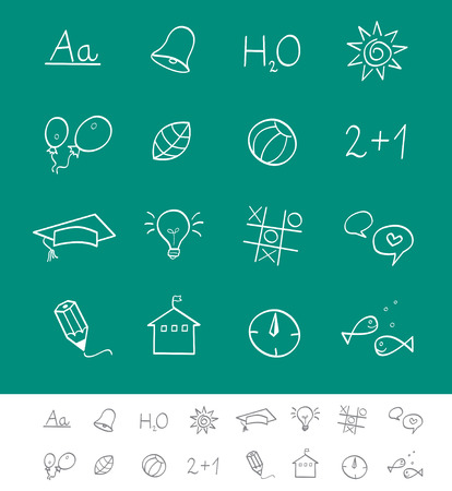 School icons. Vector pack for magazines and webpages. Schools icons. Illustration