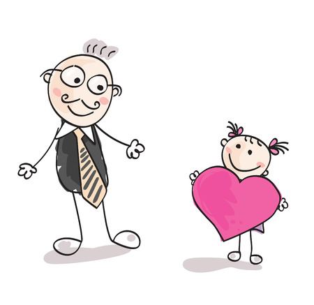 Big heart to father. Small girl give big heart to her father. Vector Illustration. Vector