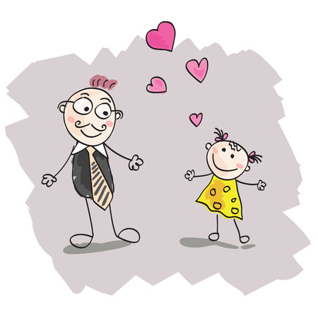 Big daughter love. Doodle cute daughter and father. Vector Illustration. Stock Vector - 4972136