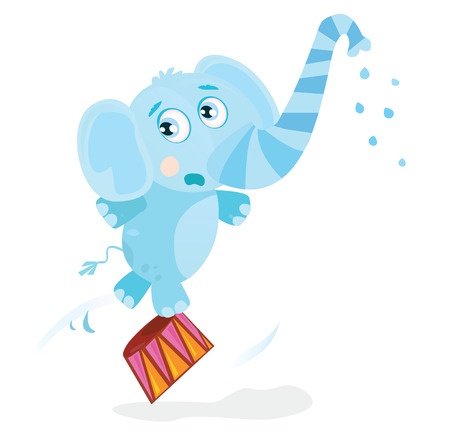 Circus elephant. Funny animal is trained on great circus show. Vector Illustration. Vector
