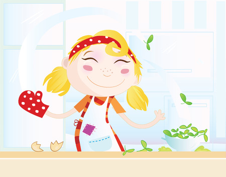 soup and salad: Funny kitchen girl. Cooking girl have fun in the kitchen.Vector Illustration Illustration