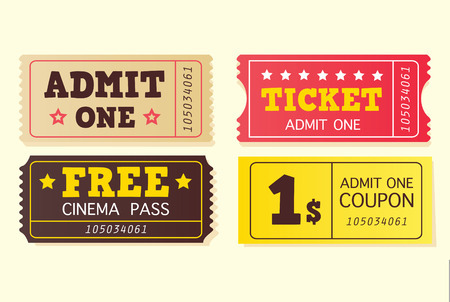 variants: Vintage cinema tickets. On movie or to Theatre? Use my tickets! In 4 different variants. Vector Illustration.  Illustration