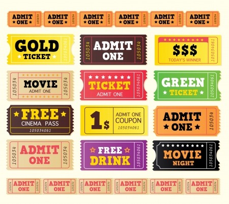 tokens: Vintage cinema tickets. BIG COLLECTION. On movie or to Theatre? Use my tickets! In 12 DIFFERENT VARIATIONS. Vector Illustration – easy to move and resize. Objects grouped.
