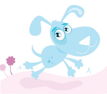Running dog. Cute vector dog running in park . Art vector Illustration. Stock Vector - 4985019