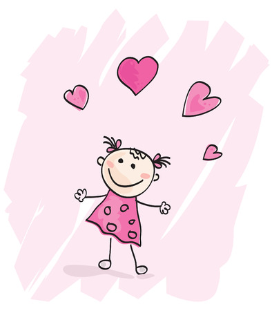 ecard: Small girl with hearts. Doodle cartoon character. Loving girl with hearts. Vector Illustration.
