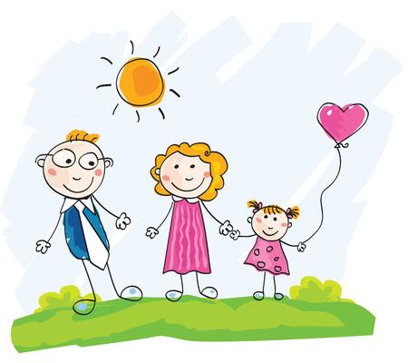 Doodle familia feliz. Madre, padre e hijo en la verde pradera. Ilustraciones Vectoriales. Ver imágenes similares en mi cartera!