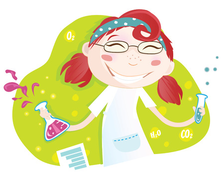 experiment: Chemical laboratory. Warning! Girl is making chemical experiment :) Vector Illustration. See similar pictures in my portfolio! Illustration