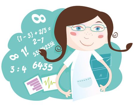 Math girl. She love math! Vector girl character with numbers. Art Vector Illustration. See similar pictures in my portfolio! Vector