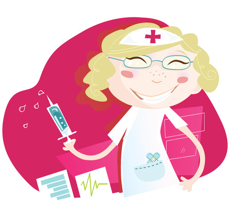 vaccination: Hospital nurse. Attractive nurse with smile help every patient Art vector Illustration. See similar pictures in my portfolio! Illustration