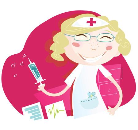 patient: Ziekenhuis verpleegkundige. Aantrekkelijk verpleegkundige met een glimlach helpen om de patiënt art vector illustratie. Zie soortgelijke foto's in mijn portefeuille!