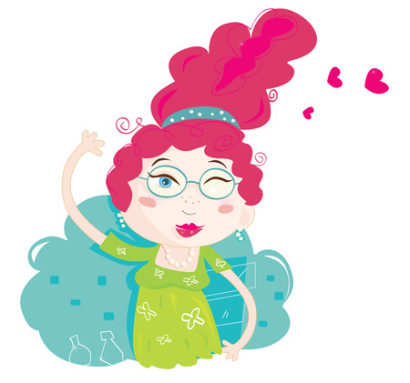 Mrs pretty. Woman proud of her new hairstyle. Art vector Illustration. See similar pictures in my portfolio!