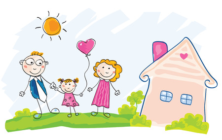 Family is moving into new house. Doodle vector Illustration. See similar pictures in my portfolio! Vektoros illusztráció