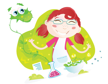 female scientist: Botanical experiment. Heelp! Girl cultivated monster-plant! Vector Illustration. See similar pictures in my portfolio!