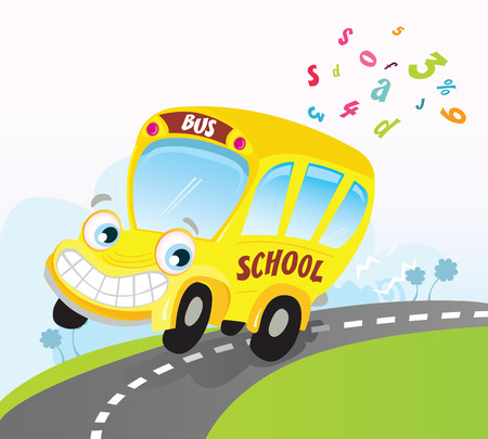 Yellow school bus on road. School bus trip. Vector Cartoon Illustration. Vector