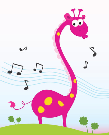 Singing giraffe. Funny jungle giraffe sing a song. Vector Illustration. Stock Vector - 5156819