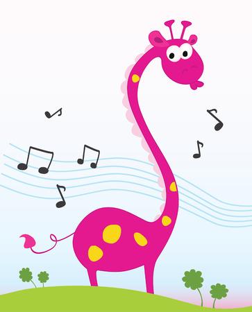 Singing giraffe. Funny jungle giraffe sing a song. Vector Illustration.  일러스트