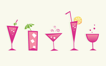 Hot summer drinks and cocktail glasses - VECTOR. Brandy, Martini, Tequila, Vodka, Soda, Wine or Juice? Take hot summer mixed drinks! Vector format – easy to resize. Vector