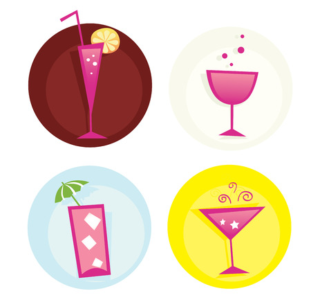 Drinks iconset. Mix of summer hot drinks. VECTOR. Hot summer mixed drinks. Vector icons � easy to resize. Vector