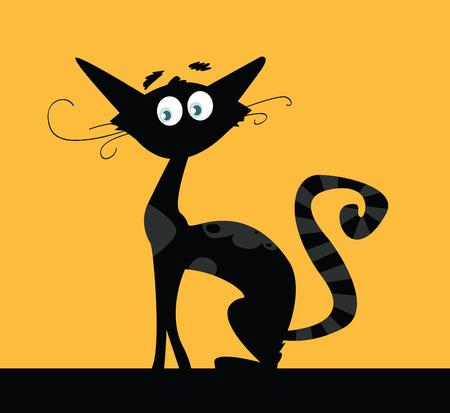 Black Cat. Silhouette de chat noir isolé sur fond de couleur. VECTOR. Illustration